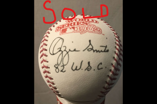 OZZIE SMITH AUTOGRAPH 1982 WORLD SERIES BALL-$125