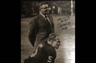 PAUL HORNUNG AUTOGRAPH 11X14 PHOTO WITH VONCE LOMBARDI-$140